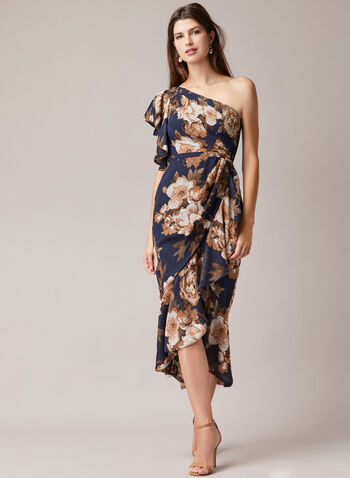 Betsy & Adam - Floral Print One Shoulder Dress, Blue,  evening dress, floral, ruffled, chiffon, one shoulder, asymmetric, spring summer 2020