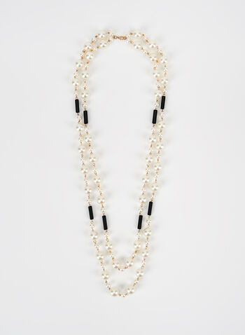 Two Tiered Pearl Detail Necklace, Off White, hi-res