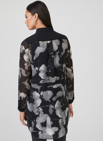Abstract Print Chiffon Tunic, Black, hi-res