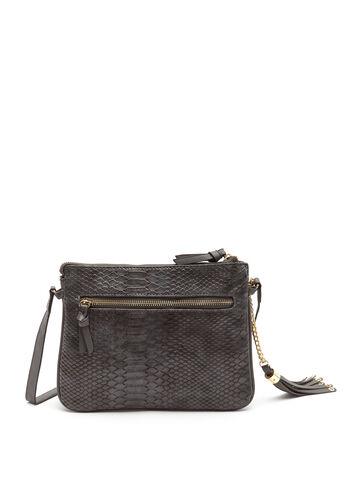 Faux Crocodile Crossbody Bag, Grey, hi-res