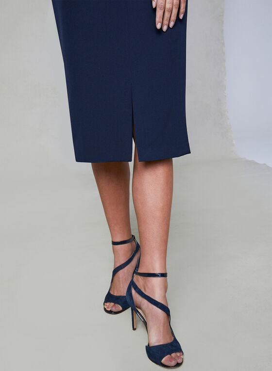 Maggy London - Scalloped Sheath Dress, Blue, hi-res