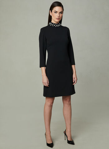 Karl Lagerfeld Paris - Robe en crêpe à col perlé, Noir, hi-res