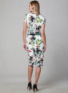 Floral Print Sheath Dress, White, hi-res
