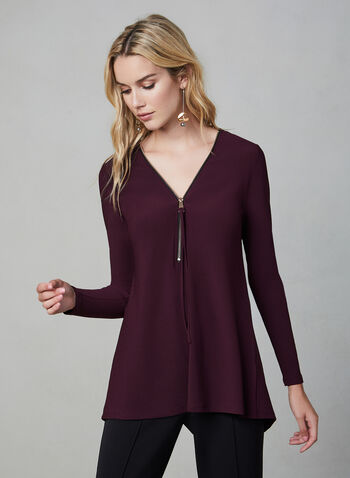 Asymmetric Back Zip Detail Top, Purple,  trendy top, jersey top,