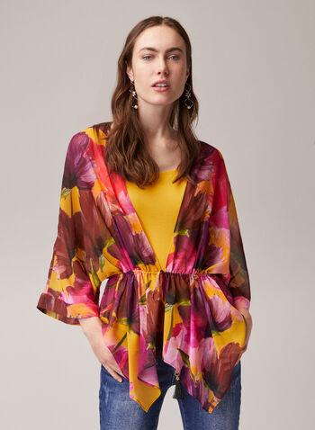 Floral Print Kimono Sleeve Blouse, Multi,  blouse, kimono, floral, chiffon, spring summer 2020