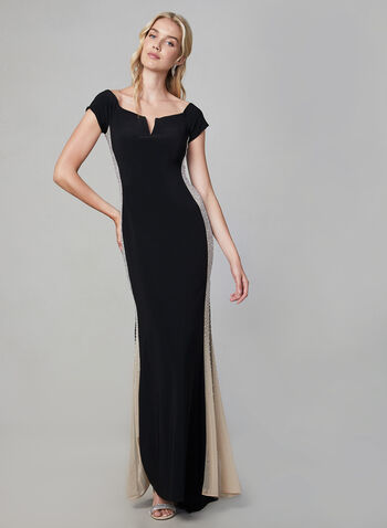 BA Nites - Off The Shoulder Dress, Black, hi-res,  fall winter 2019, evening dress, jersey, long gown