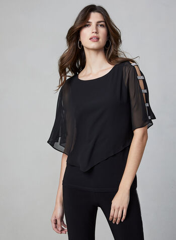Frank Lyman - Rhinestone Trim Kimono Top, Black,  top, kimono, chiffon, rhinestone, open sleebves, scoop neck, fall 2019, winter 2019