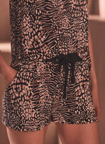 Animal Print Pyjama Set, Black,  spring summer 2021, sleepwear, pj, pyjama, set, animal print, tank, shorts, soft, comfort, relax, pull-on, elastic waist, drawstring