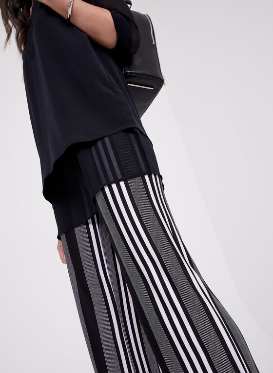 Stripe Print Pull-On Wide Leg Pants, Black, hi-res