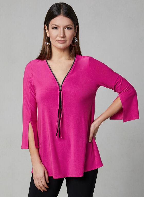 Joseph Ribkoff - Zipper Collar Top, Pink, hi-res