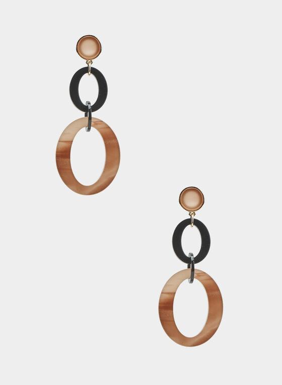 Two Tier Dangle Earrings, Black, hi-res
