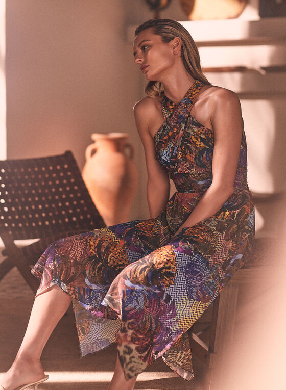 Robe à col croisé et motif tropical, Multi