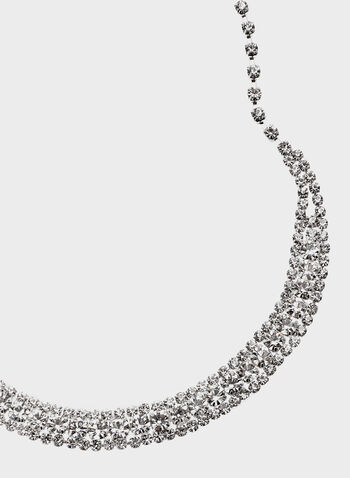 Rhinestone Necklace , Silver, hi-res