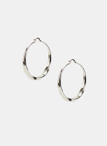 Twisted Hoop Earrings, Silver, hi-res
