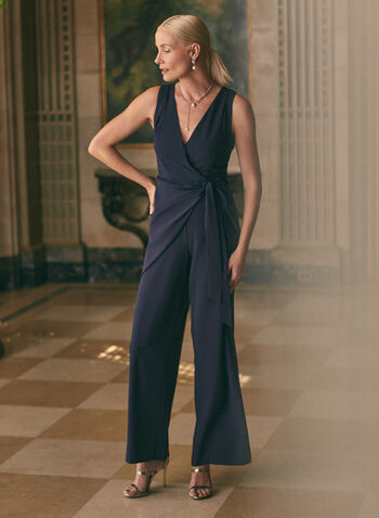 Wide Leg Crossover Jumpsuit, Blue,  jumpsuit, evening, occasion, wide leg, crossover, v-neck, sleeveless, crepe, spring summer 2021