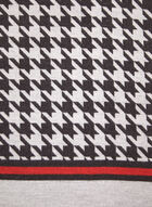 Houndstooth Motif Reversible Scarf, Black