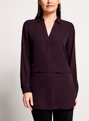 Long Sleeve Notch Collar Tunic Blouse, Purple, hi-res