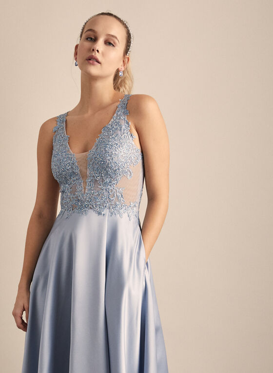 Xscape - Embroidered Detail Satin Gown, Blue