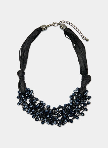 Faceted Bead Bib Necklace, Black, hi-res