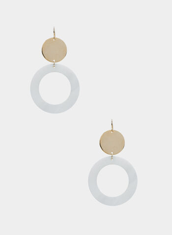 Dangle Hoop Earrings, Gold, hi-res