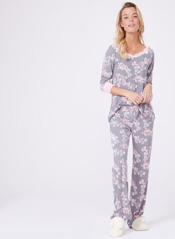 Floral Print Lace Trim Pajama Set, Grey, hi-res
