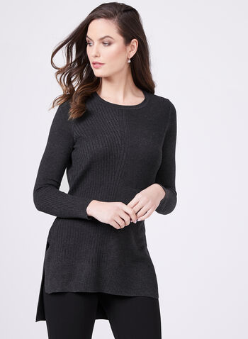 Mixed Stitch Tunic Sweater, Grey, hi-res