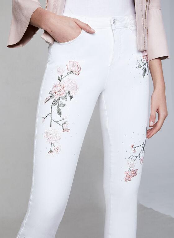 Frank Lyman - Embroidered Slim Leg Jeans, White, hi-res