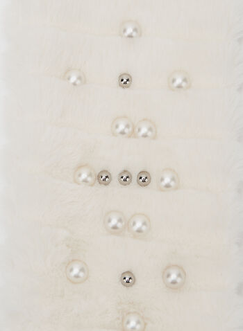 Pearl Detail Faux Fur Scarf, Off White, hi-res