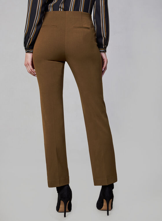 Metallic Detail Slim Leg Pants, Brown