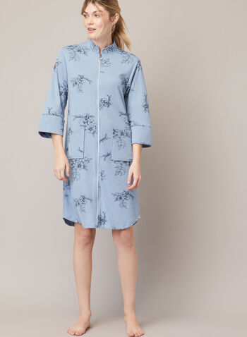 Printed Front Zip Robe, Blue,  fall winter 2020, robe, zipper, high collar, 2/3 sleeve pockets, sleepwear