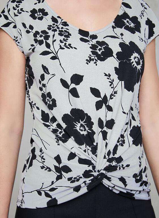 Floral Print Tie Detail Top, Grey