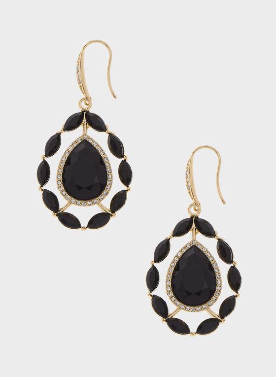 Boucles d'oreilles à pendants goutte d'eau, Noir, hi-res