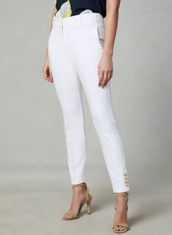 Button Detail Slim Leg Pants, Off White, hi-res,