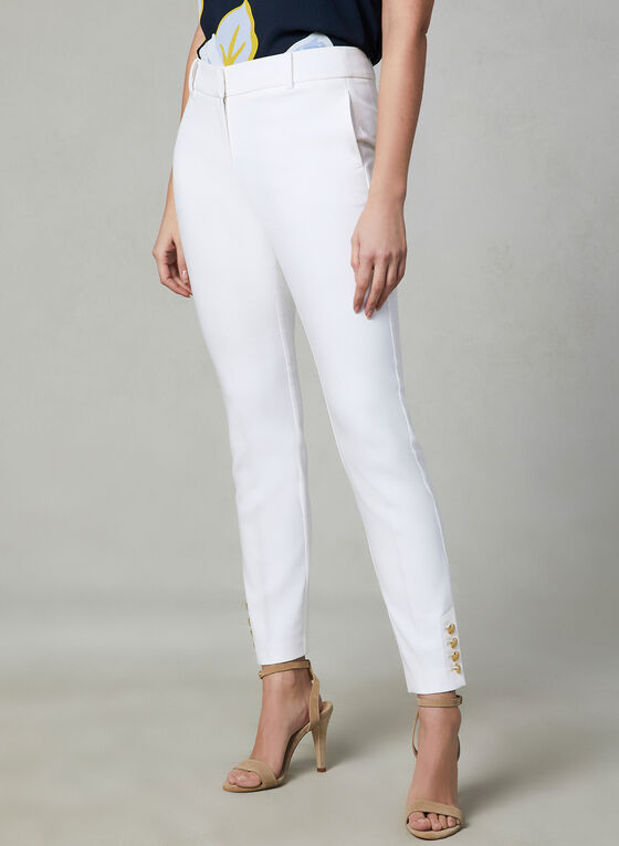 Button Detail Slim Leg Pants, Off White
