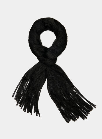 Knit Fringe Scarf, Black, hi-res
