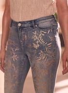 Leaf Print Slim Leg Jeans, Blue