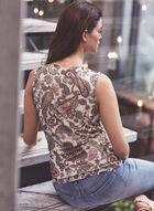 Paisley Print Sleeveless Top, White