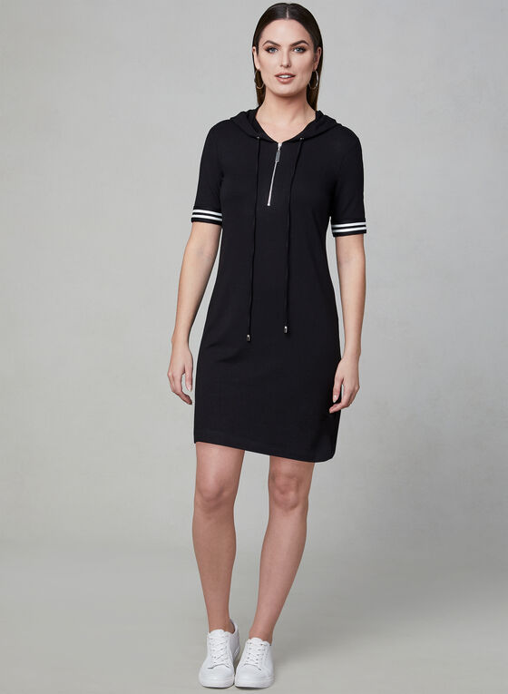 Frank Lyman - Hooded T-Shirt Dress, Black, hi-res