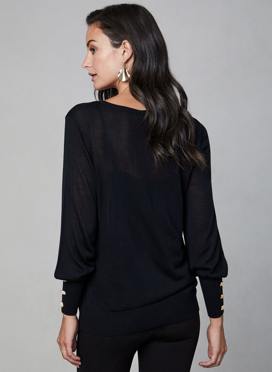 Long Sleeve Lightweight Sweater, Black