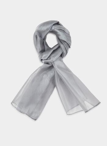 Organza Shawl, Silver, hi-res,  Canada, shawl, scarf, organza, fall 2019, winter 2019