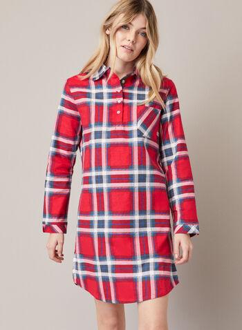 Tartan Print Nightshirt, Red,  fall winter 2020, nightshirt, tartan, long sleeve, pyjama