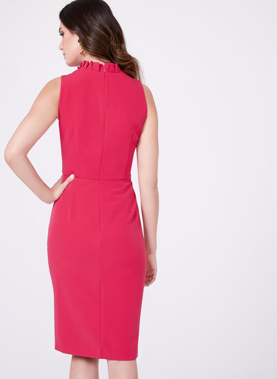 Chetta B - Structured V-Neck Dress , Red, hi-res