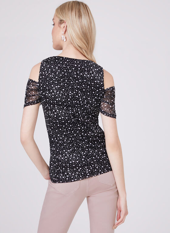 Dot Print Cold Shoulder Top, Black, hi-res