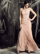 BA Nites - Glitter Lace Mermaid Dress, Pink, hi-res