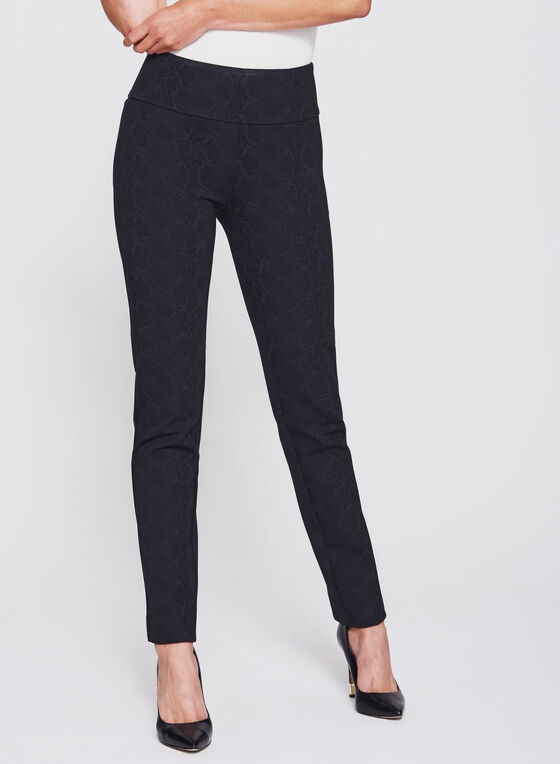 Pantalon pull-on Madison à motif python, Noir, hi-res
