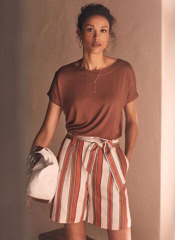Striped Linen Shorts, Brown,  Spring Summer 2021, shorts, linen, striped, structured, front pockets, 2 pockets, belt, belted waist, belt loops