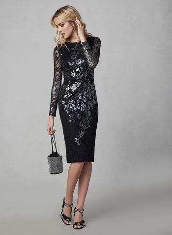 BA Nites - Lace-Embroidered Sequin Dress, Black, hi-res,  BA Nites, dress, cocktail dress, midi, long sleeves, sheath, lace, sequin, exposed zipper, fall 2019, winter 2019