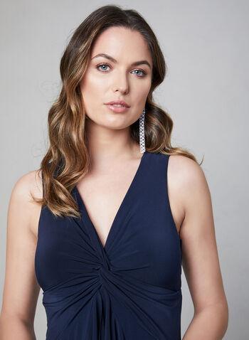 Taylor – Sleeveless Sharkbite Hem Dress, Blue, hi-res,  cascading front, sharkbite dress, twist waist dress, day dress, cocktail dress