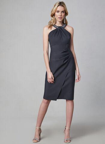 Alex Evenings - Embellished Cleo Neck Dress, Grey,  sleeveless, stretchy, crystals, beads, spring 2019