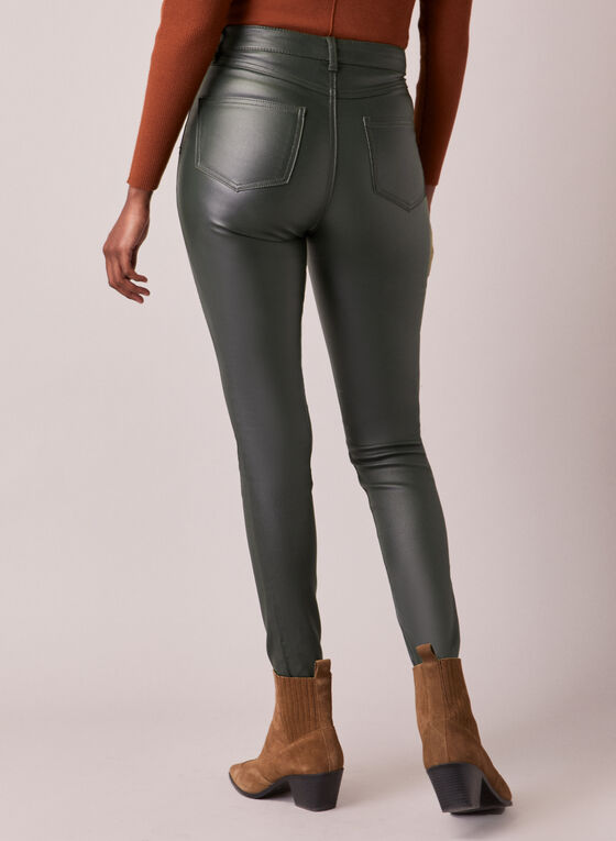 Leather Like Slim Leg Jeans, Green